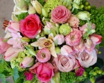 Pink & Green Hand Tied Bouquet