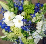 Blue & White Hand Tied Bouquet