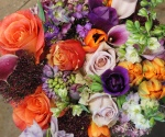 Purple & Orange Hand Tied Bouquet