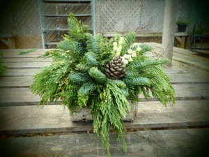 A festive arrangement straight from the forest.